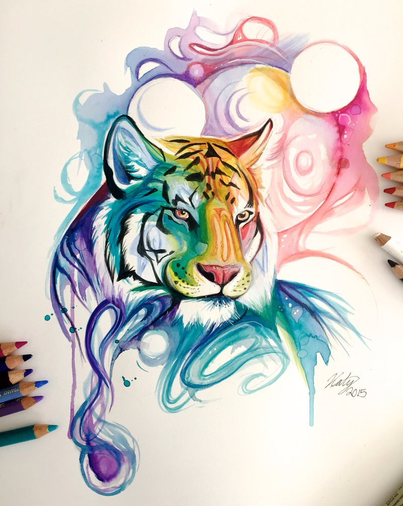 08-Spirit-Tiger-Katy-Lipscomb-Lucky978-Fantasy-Watercolor-Paintings-Colored-Pencils-Drawings-www-designstack-co