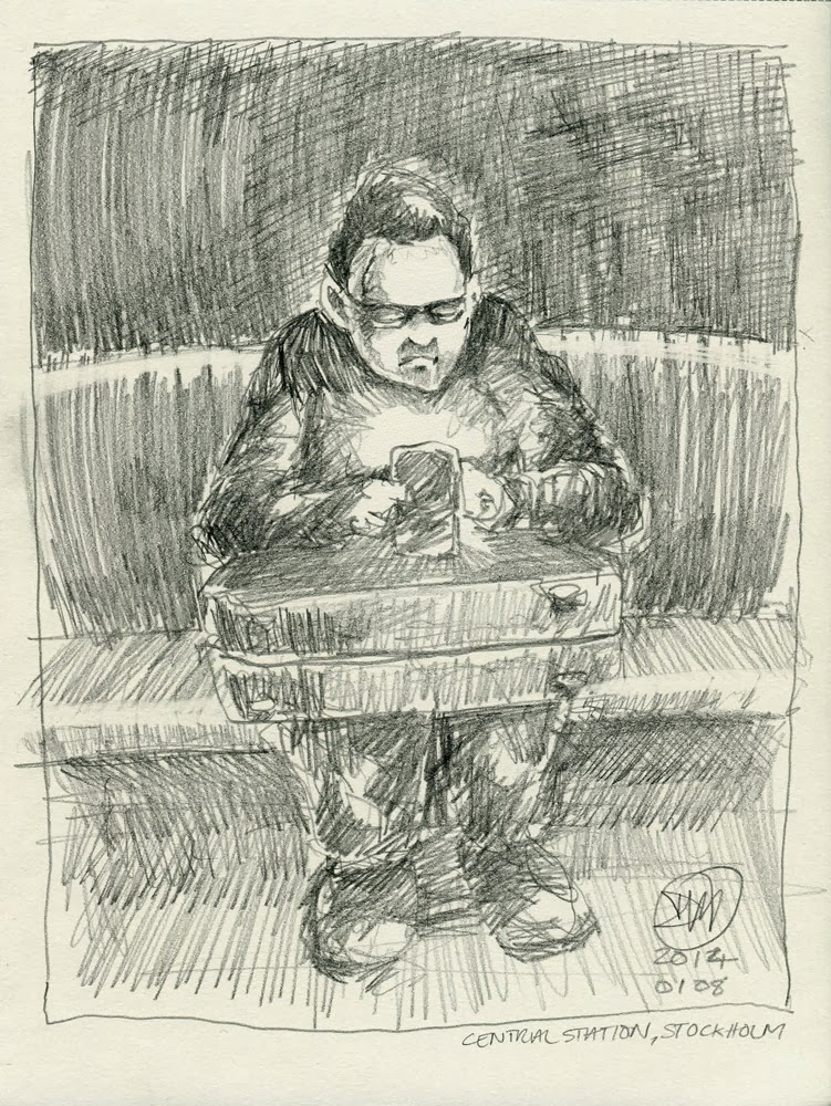 A4, HB pencil sketch, Central Station, Stockholm