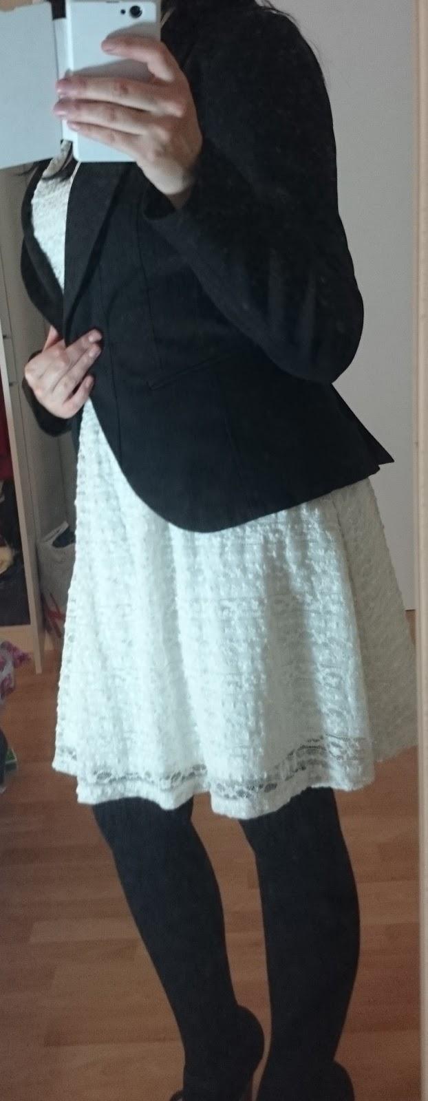 Outfit Spitzenkleid im Herbst