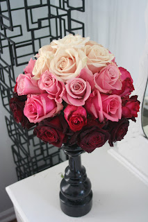 Ombre rose centerpiece, white, pink, red, Isha Foss Events