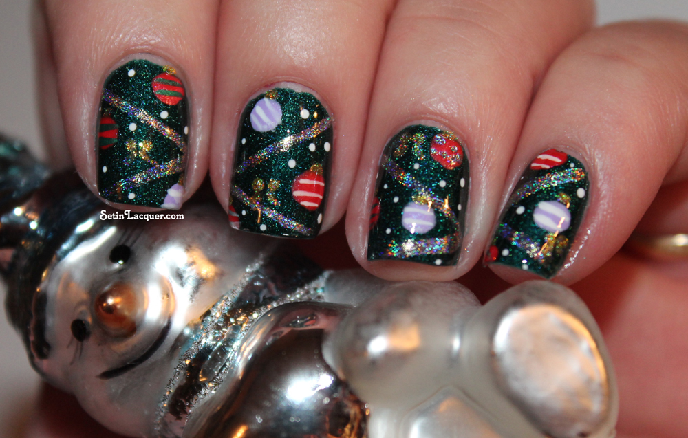Christmas tree nail art - a close up - Set in Lacquer