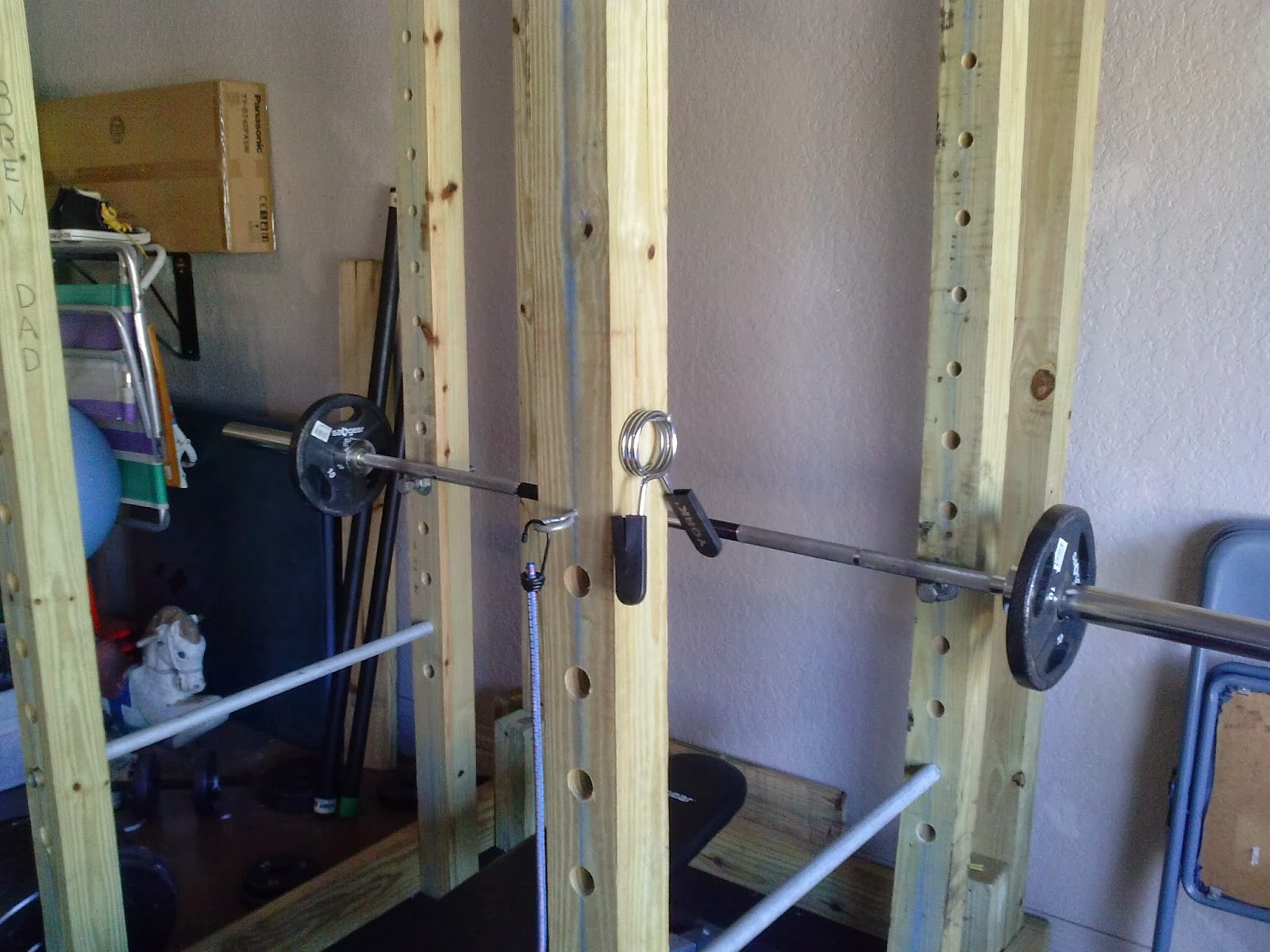 Homemade wooden power rack power cage for Homemade safety squat bar