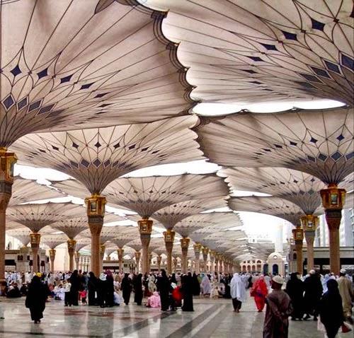 شاهدوا بالصور مظلات ساحات الحرم النبوي الشريف عن قريب!