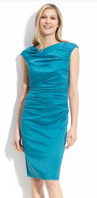 Suzi Chin for Maggy Boutique Drape Neck Gathered Sheath Dress