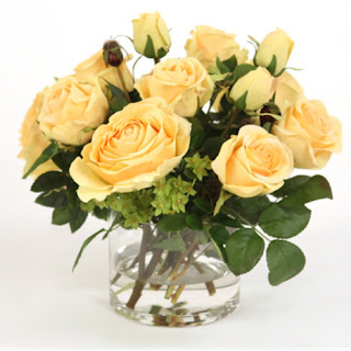 Yellow Rose Faux Flower Arrangements