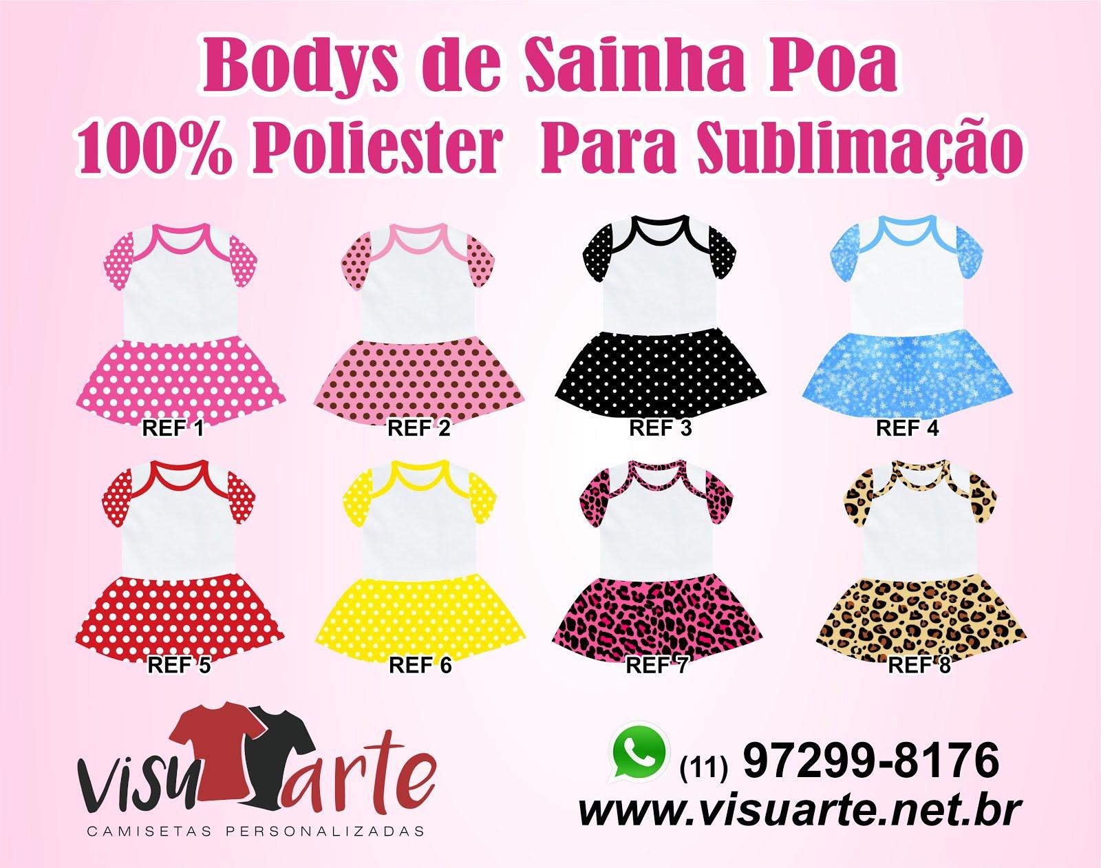 Bodys de sainha poá para sublimação - Real Camisetas - Josynha Artes