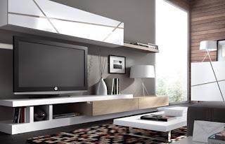 Mueble de salon compacto combinado con acabado plata el - Muebles salon modernos ...