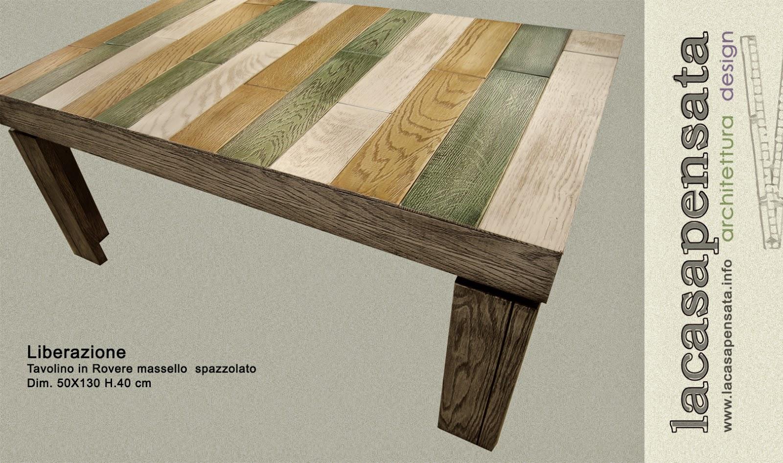 tavolino in rovere spazzolato tricolore