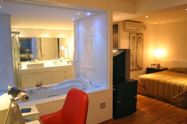 Banheiro Integrado ao Quarto! Veja modelos e dicas!  Decor Salteado  Blog d -> Quarto Com Banheiro Integrado Simples