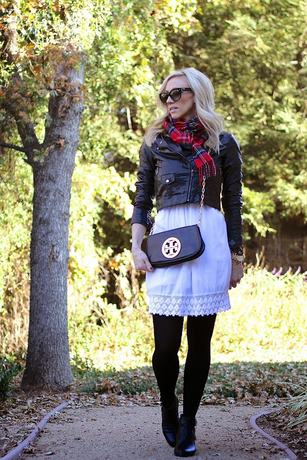 black and white with tartan