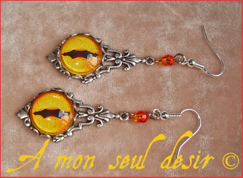 Boucles d'Oreilles Oeil Yeux Dragon Jaune Smaug Tolkien Bijou Serpent Chat Médiéval Gothique Fantasy Snake Cat Yellow Eyes Gothic Goth Earrings