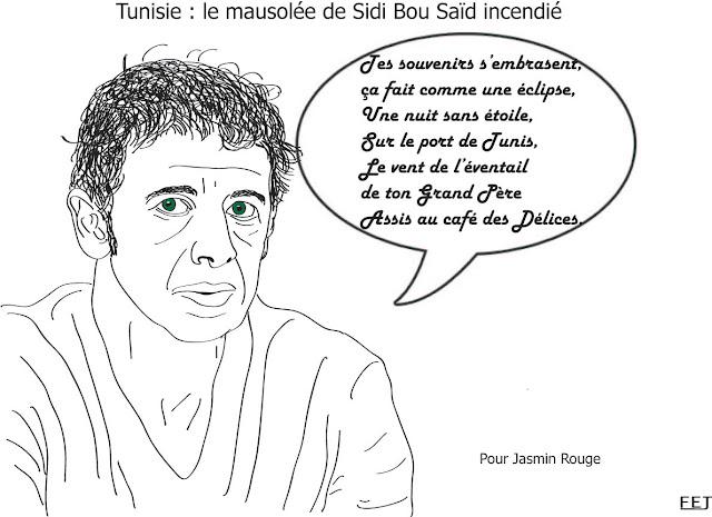 Tunisie-le-mausolée-de-sidi-bou-saïd-incendié-fej-dessin