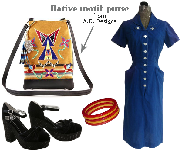 I love this outfit combo!  The mix of Native American/Canadian trends with vintage is AWESOME!