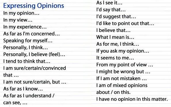 yang biasa digunakan dalam percakapan memberi atau meminta pendapat