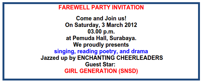 English Learning Websites Contoh Undangan Pesta Farewell Party