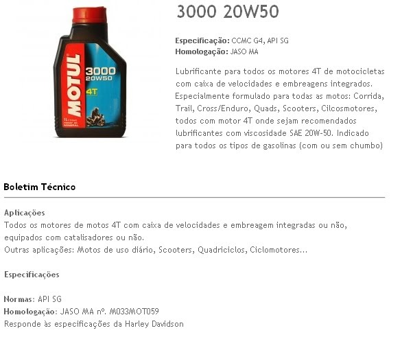 Look Motos  Oleo Motul 4t 3000 20 W 50 1 Lt