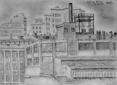 Урбан пейзаж Москвы из окна МГТУ Баумана 502ю
