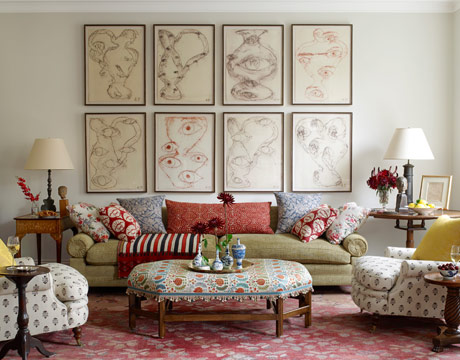 casual living, french design, pattern mix