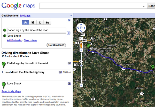 Google Maps, Love Shack lyrics