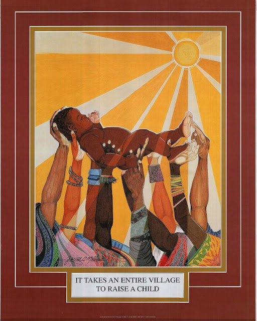 It Takes a Village to Raise a Child by George E. Miller depicts an African child raised in the air from the arms of many unseen people. The color of the skin show many hues from pale to dark brown, as is the colorfulness of the clothes. While all the other arms are holding the child up, one hand on the rightmost arm is tickling the child's foot.