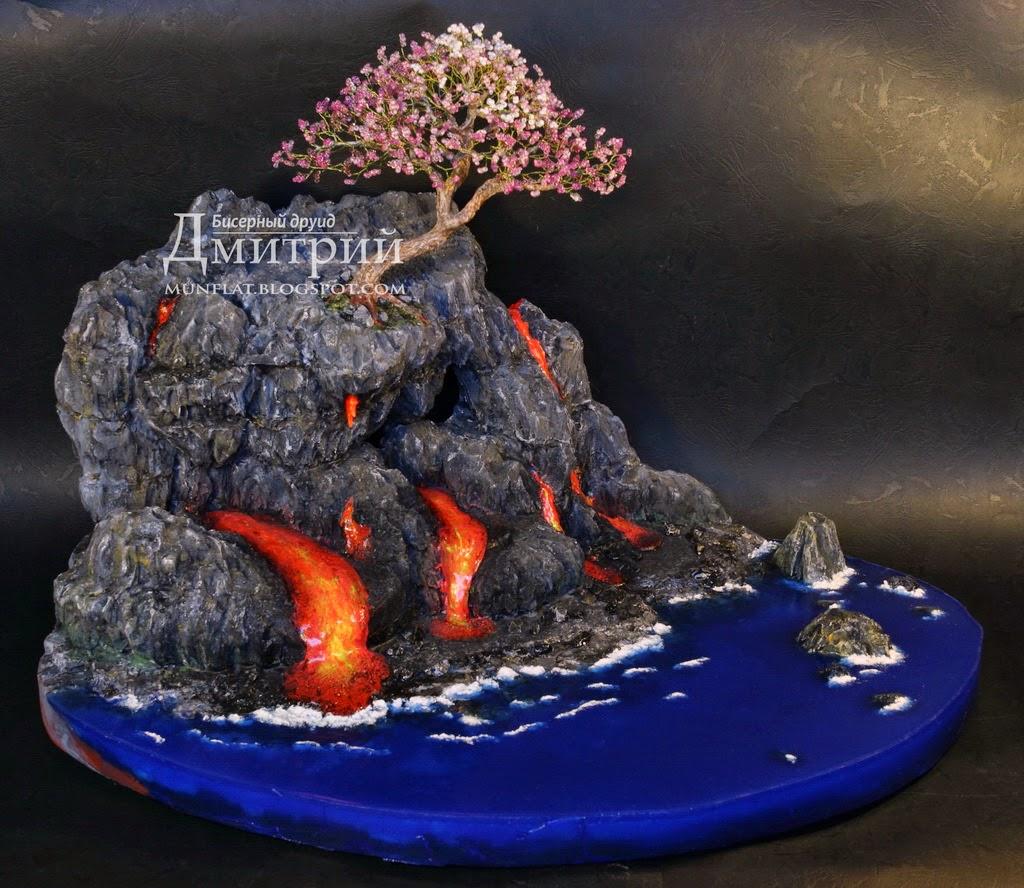 бисерное, дерево, композиция, магма, вулкан, вода, волны, beaded, tree, composition, moment, beauty, volcano, water, druid
