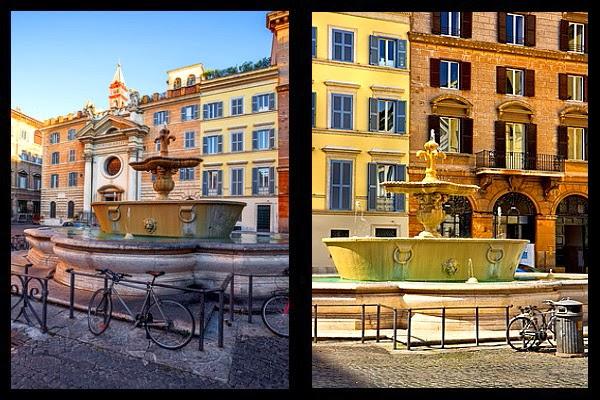Fontanny na Piazza Farnese w Rzymie