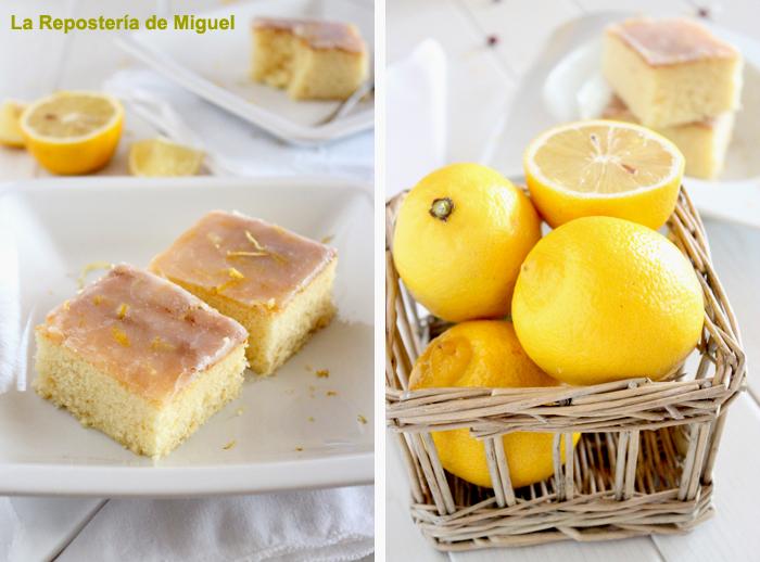 En una misma línea hay dos fotos, la de la izquierda dentro de un plato hondo blanco hay dos trozos de pastel con ralladuras de limón. A la derecha foto frontal de una cesta de mimbre repleta de limones , también hay algún limón partido.