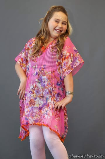 Ella Kommeren, 9, Hastings, modelling hairstyle and clothing, preview show for Style for a Cause, at Ellwood Function Centre, Hastings photograph