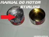 Manual do motor Stirling, a bucha soldada com de estanho no cabeçote