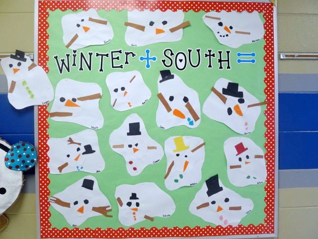 First grade blue skies melted snowman bulletin board amp freebie pack