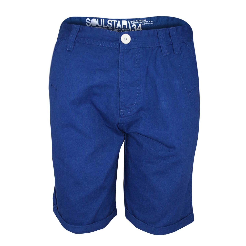 Soul Star Men/'s Melton Chino Shorts Navy Waist 30