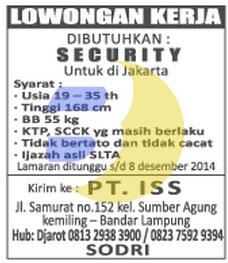 Lowongan Kerja PT. ISS Lampung, senin 08 desember 2014