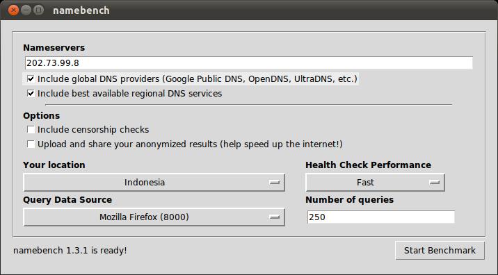 Mencari DNS tercepat dengan Namebench