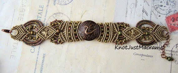 Micro macrame bracelet with copper dragon button.