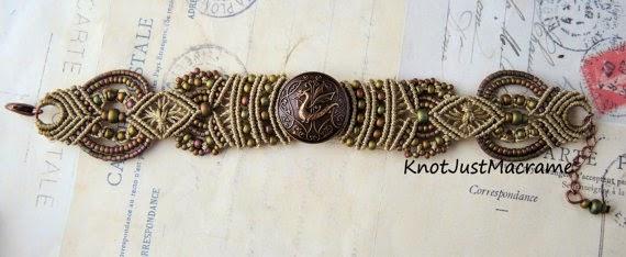 Micro macrame bracelet with copper dragon button.