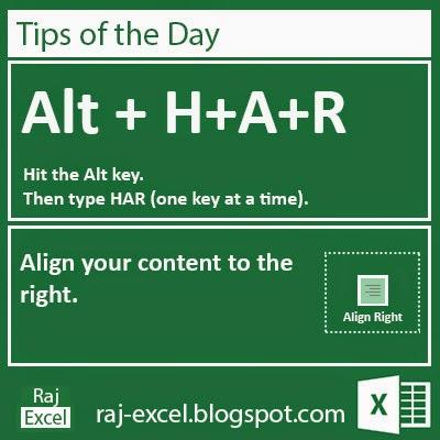 Microsoft Excel 2013 Short Cut Keys: Alt + HAR