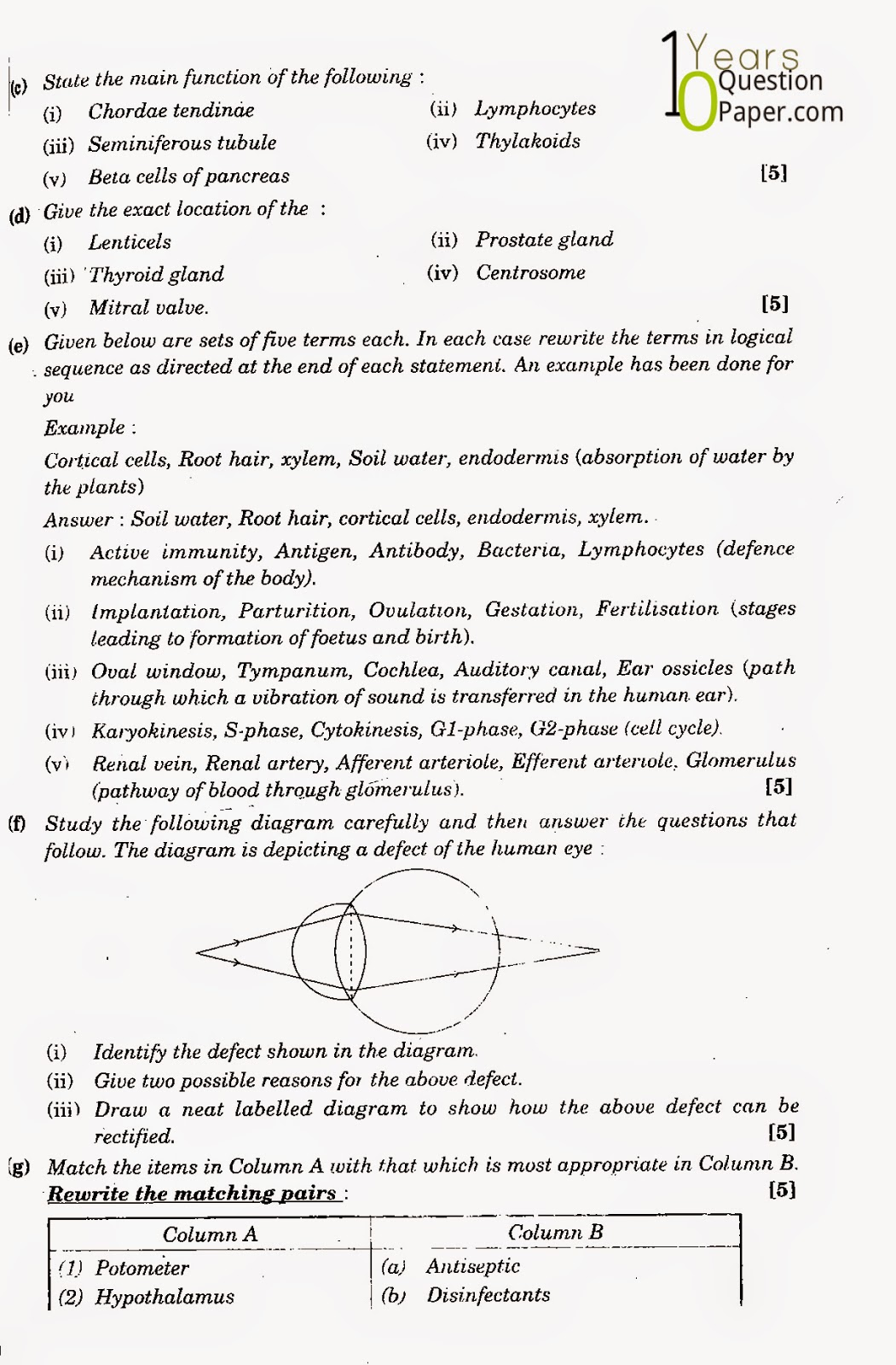icse class 10th Biology solved question paper 2012