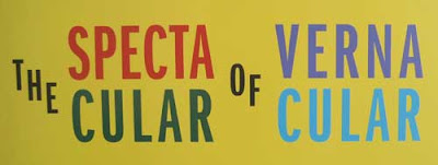 The Spectactular of Vernacular logo in bright colors, sans serif type