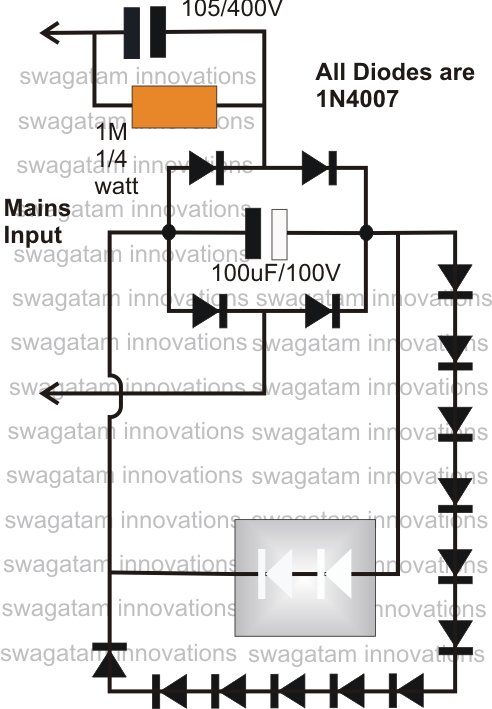simplest  watt led driver circuit at v/v mains voltage, circuit diagram