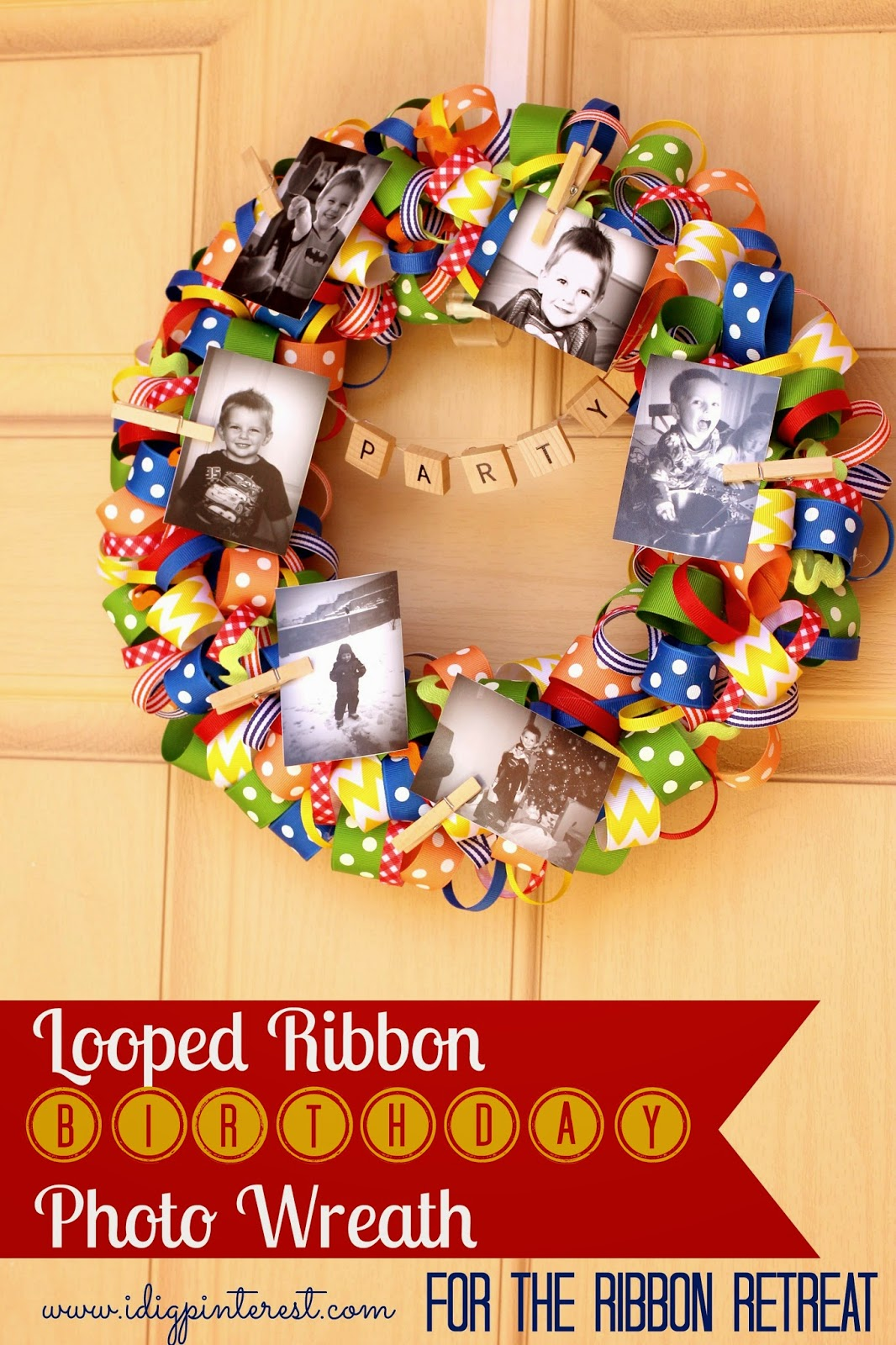 http://www.idigpinterest.com/2014/04/looped-ribbon-birthday-photo-wreath.html