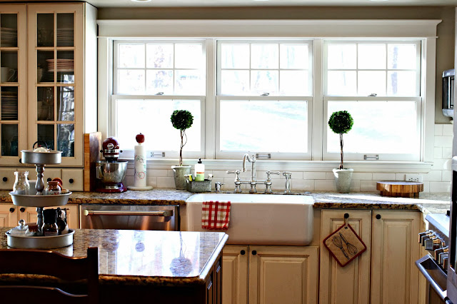 Rohl Shaw's farm sink with triple windows in white kitchen with cherry island and giallo veneziano granite-www.goldenboysandme.com