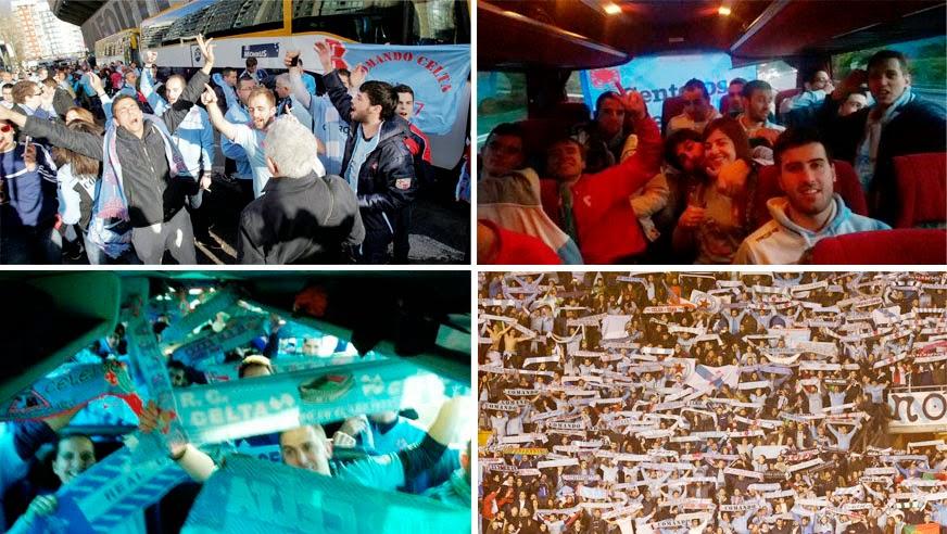 Viaje de las peñas del Celta a Riazor
