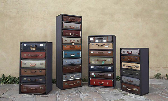 repurposed suitcases make good chest of drawers