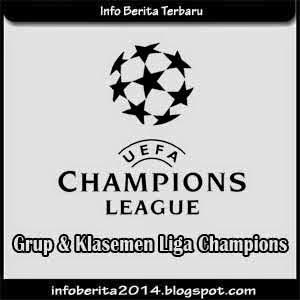 Grup dan Klasemen Sementara Liga Champions 2014-2015