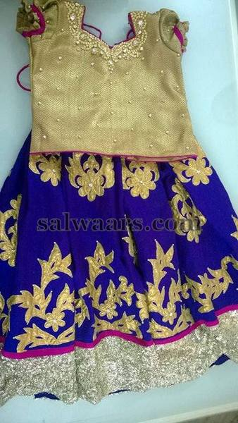 Blue Lehenga with Gold Blouse