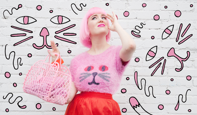 lazy oaf, pink fluffy, cat jumper