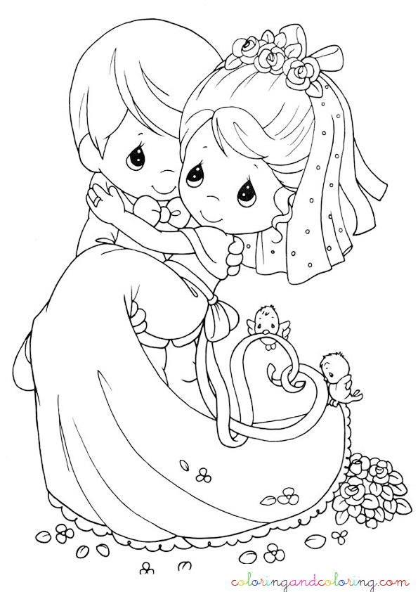 Coloring wedding precious moments