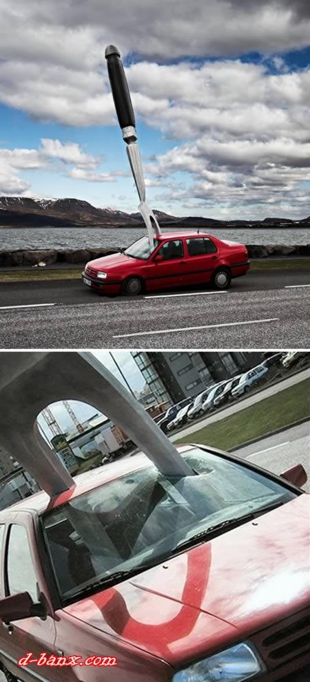 Seni Photosop, Mobil Hancur Kejatuhan Benda-benda Aneh