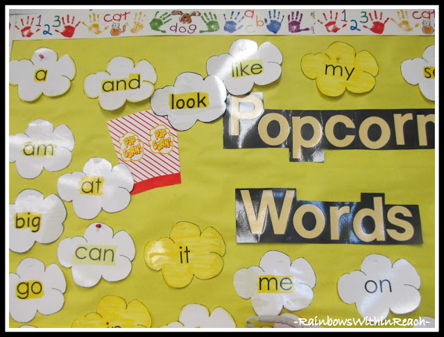 "photo of: Word Wall with ""Popcorn"" Theme in Kindergarten (from Round-Up by RainbowsWithinReach on all things: Word Wall)"