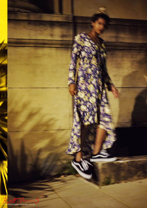 With movement. Vishmi wears photographed for Street Fashion Sydney by Kent Johnson.